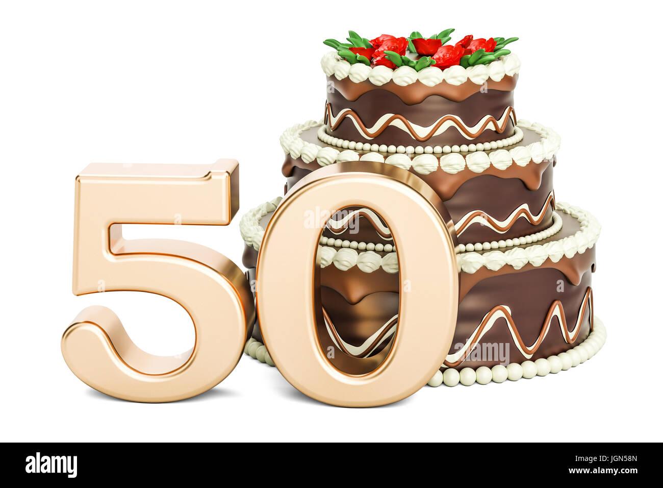 Geburtstag Schokoladenkuchen Mit Goldene Zahl 50 3d Rendering