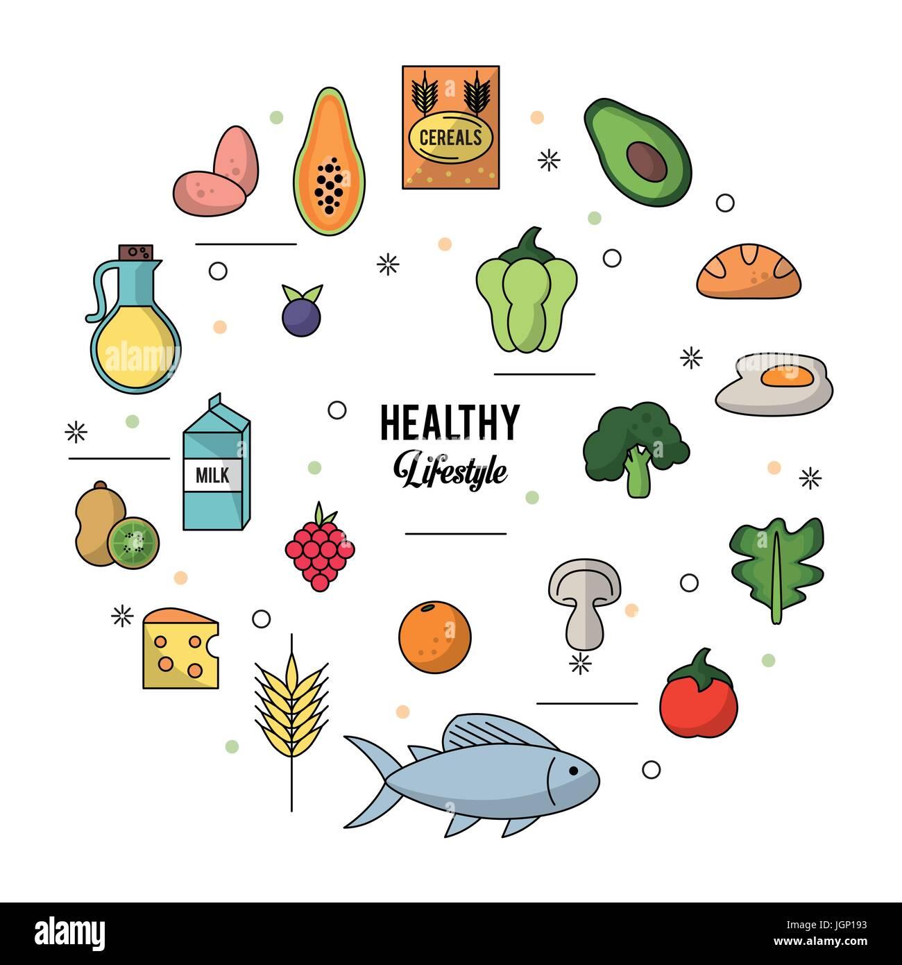 weißen Hintergrund eines gesunden Lebensstils mit bunte Reihe von Lebensmitteln Stockbild