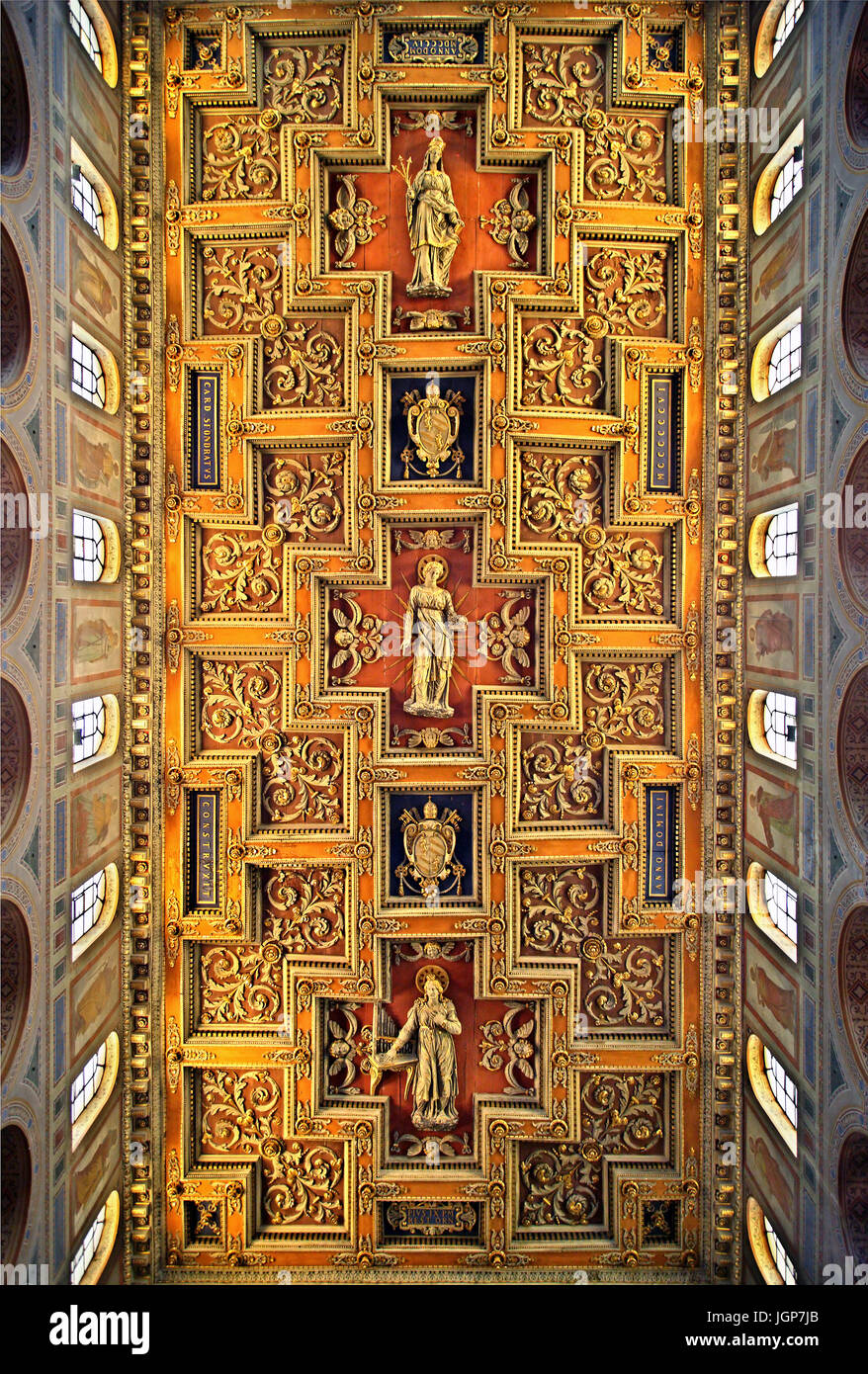"""Die beeindruckende Decke der Basilica di Sant'Agnese fuori le Mura (t, Agnes außerhalb der Mauern""""), Stockbild"""