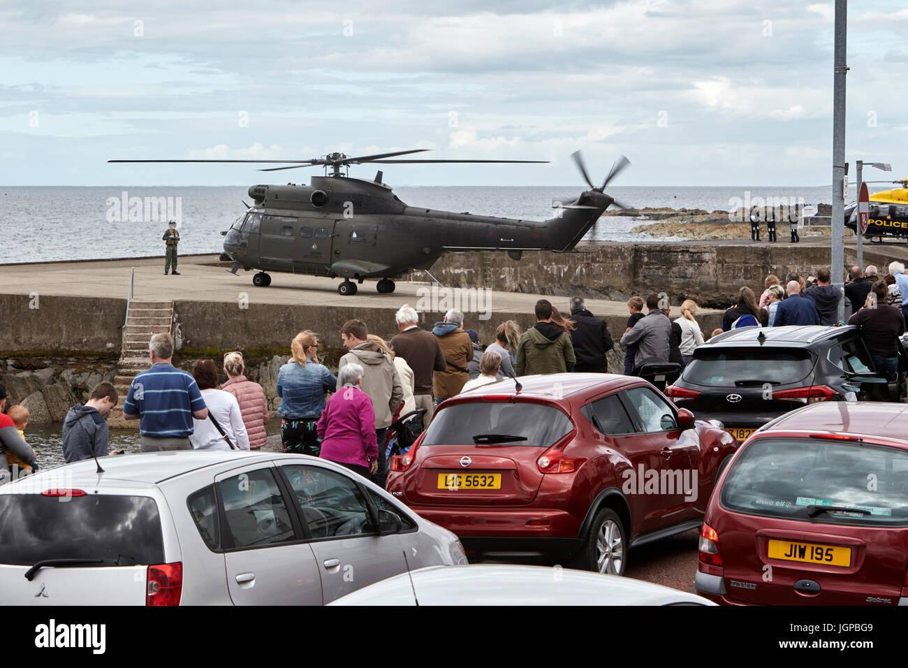 Royal Air Force XW209 Westland Puma Helikopter bereitet für Streitkräfte Tag Bangor Nordirland ausziehen Stockbild