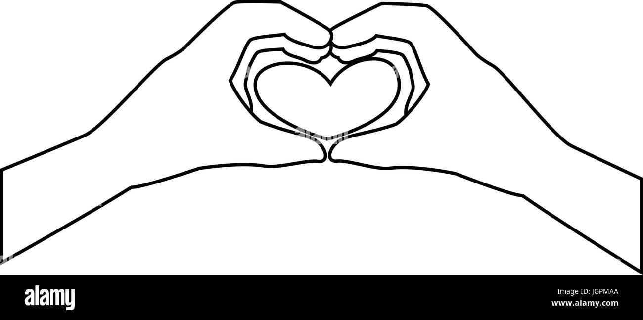 zwei Hände tun ein Herz Formen Symbol auf weißem Hintergrund-Vektor-illustration Stock Vektor
