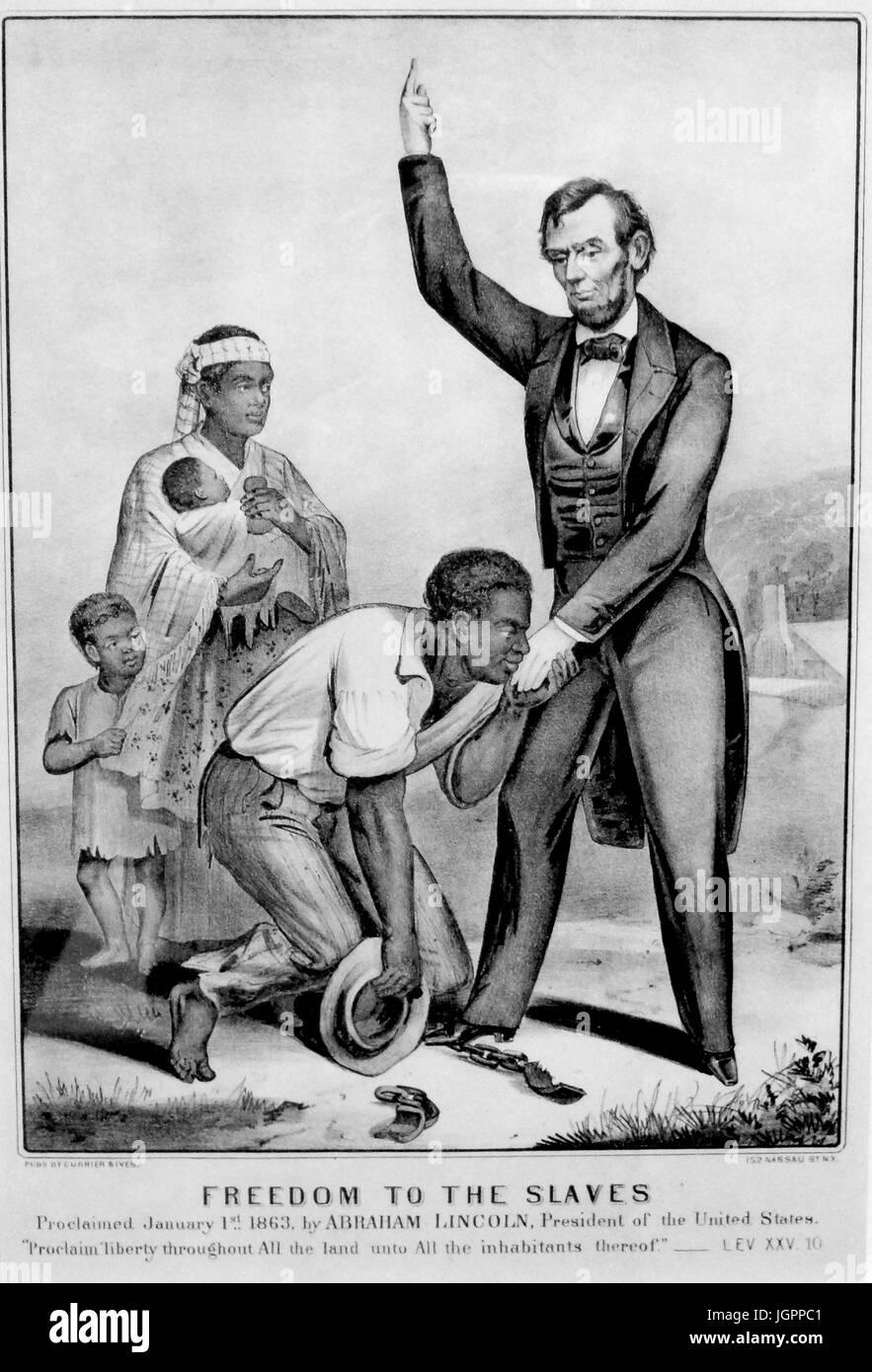 Freiheit für die Sklaven Currier & Ives drucken etwa 1863 Stockbild