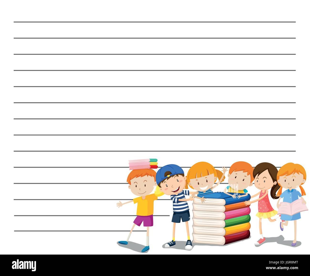 Linie Papier-Vorlage mit Kindern lesen Buch Hintergrund illustration ...
