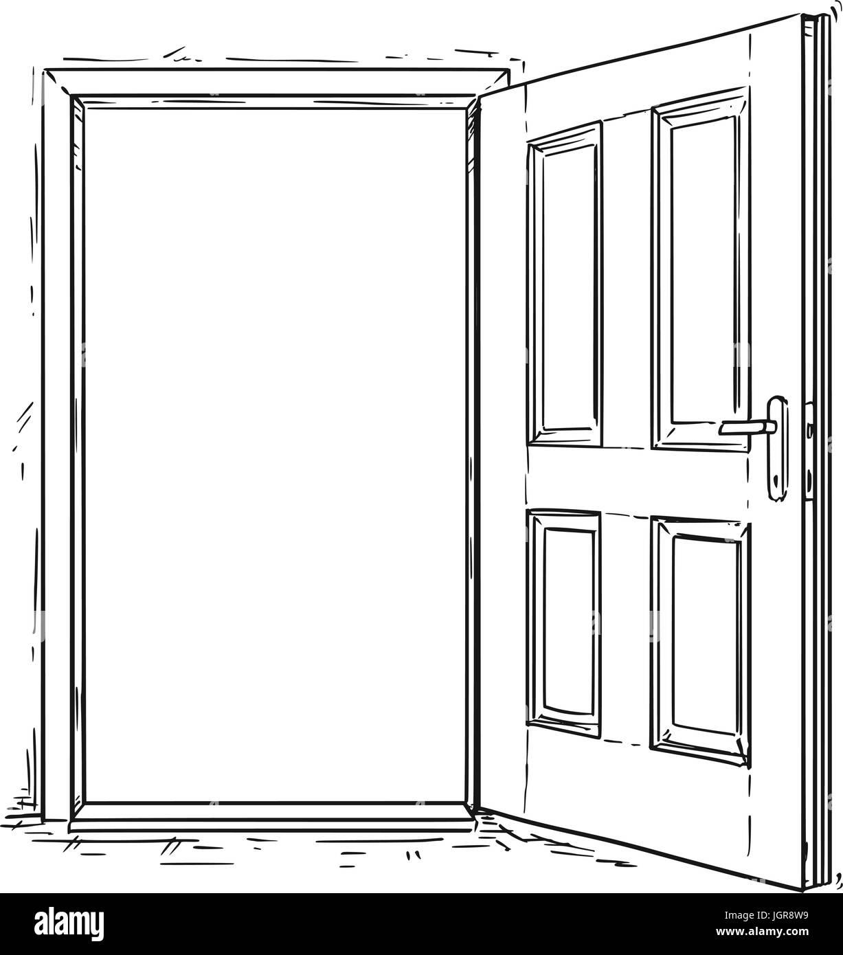 Vektor cartoon von eleganten h lzernen t r ffnen vektor for Schlusseldienst tur offnen