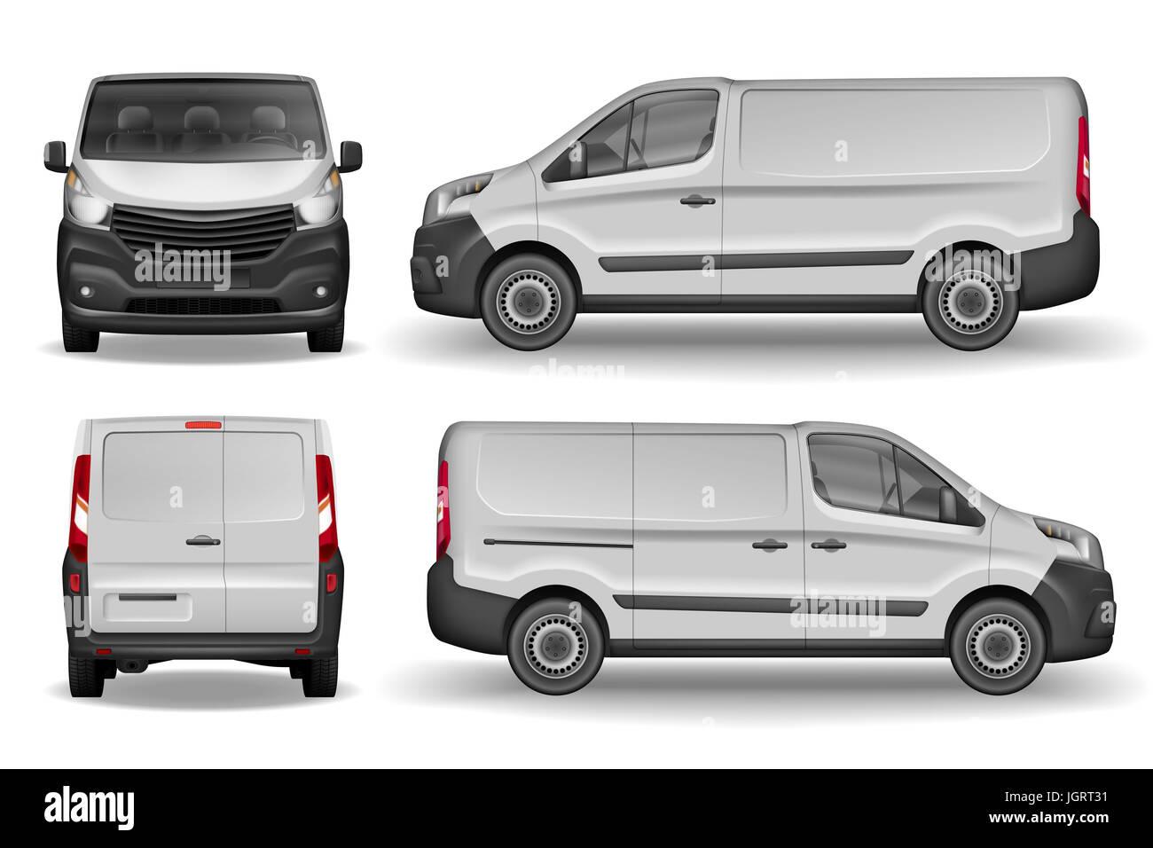 Fracht Lieferwagen Vektor Vorlage. Realistische White Cargo Minivan ...