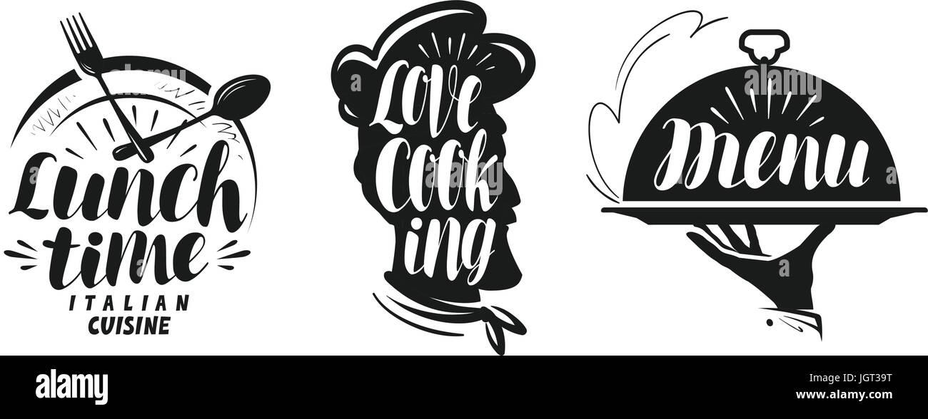 Kochen und Küche-Logo. Set Icons und Symbole für Design-Menü ...