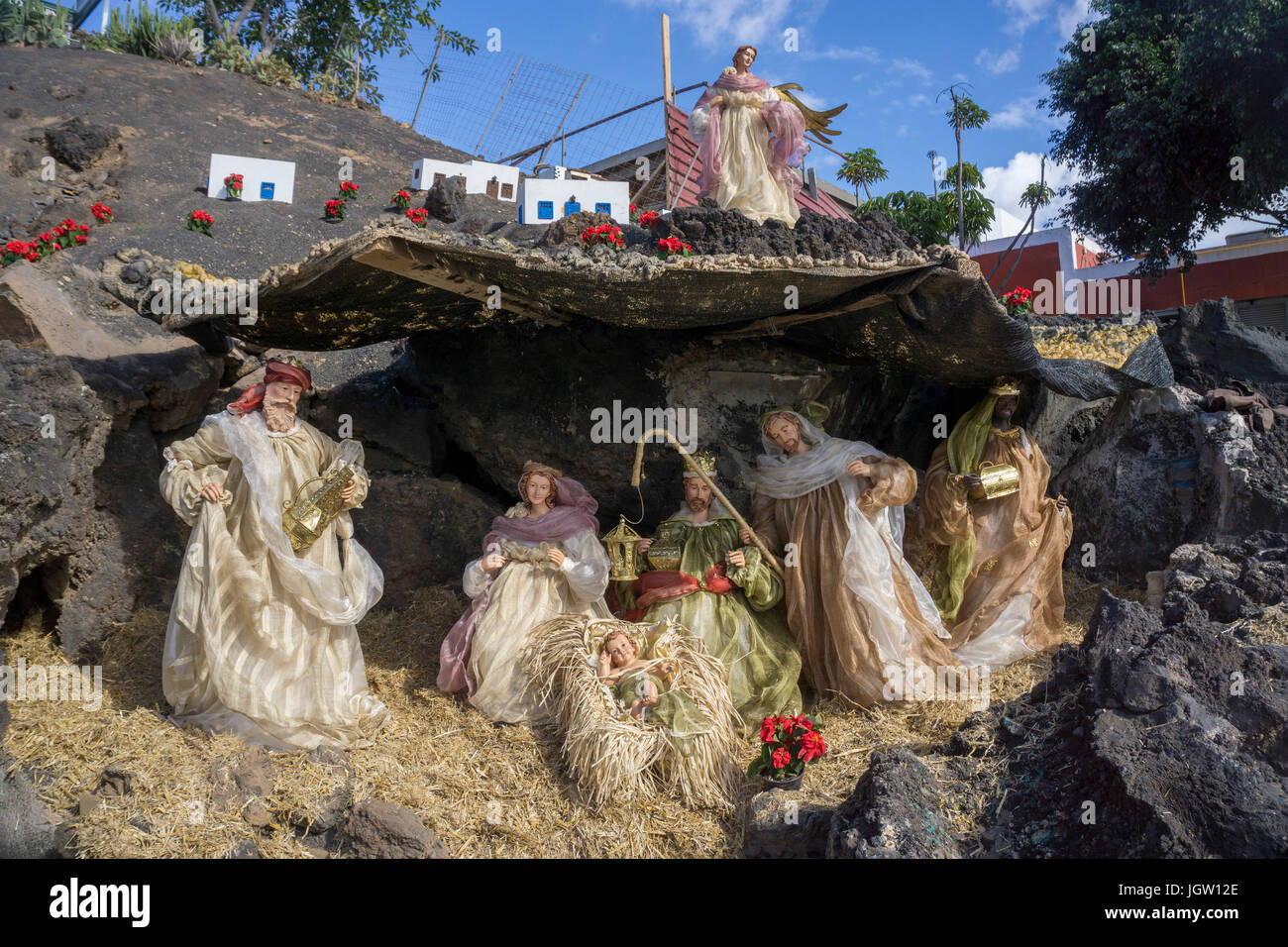 Krippenspiel am Fischerhafen La tinosa, Weihnachten Szene ...