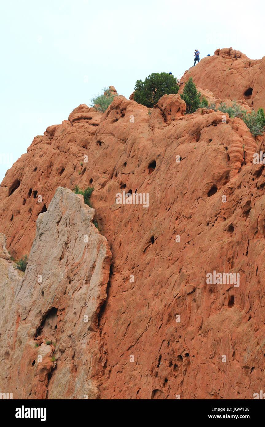 Kletterer im Garten der Götter, Colorado Springs, Colorado, USA Stockfoto