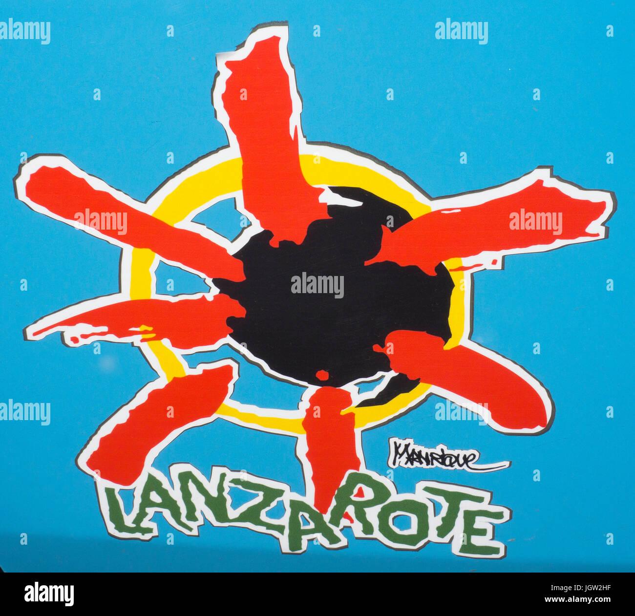Logo von Lanzarote, entworfen von Cesar Manrique, Lanzarote, Kanarische Inseln, Spanien, Europa Stockbild