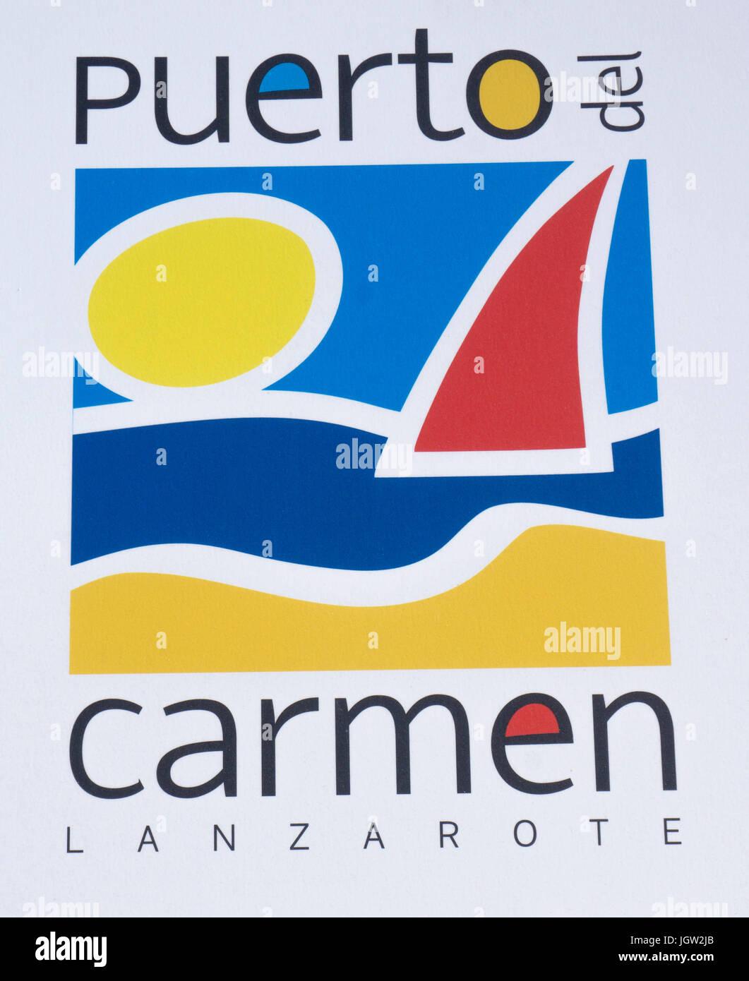 Logo von Puerto del Carmen, touristische Stadt auf der Insel Lanzarote, Kanarische Inseln, Spanien, Europa Stockbild