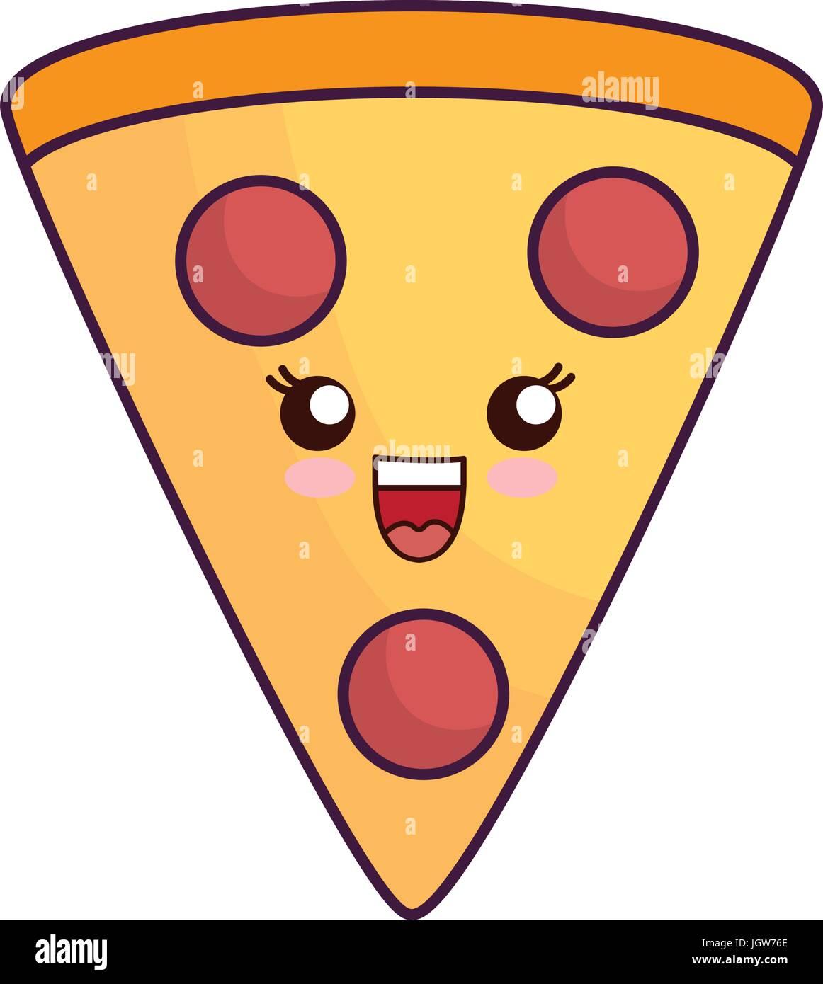Kawaii Pizza Slice Symbol Auf Weißem Hintergrund Vektor