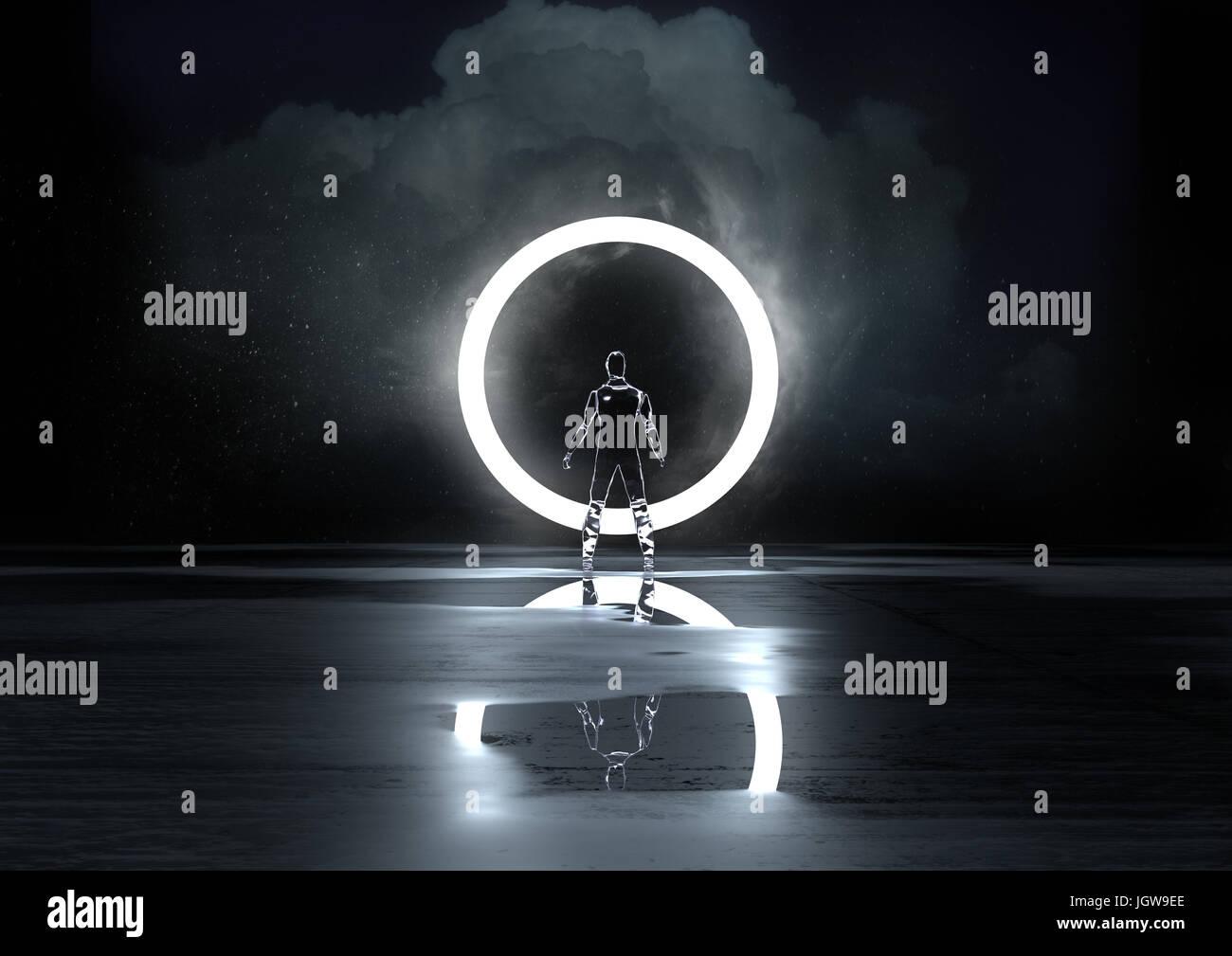 Kreis des Lichts. Eine Glas-Figur durch einen Kreis des Lichts in der Nacht beleuchtet. 3D Illustration Stockbild