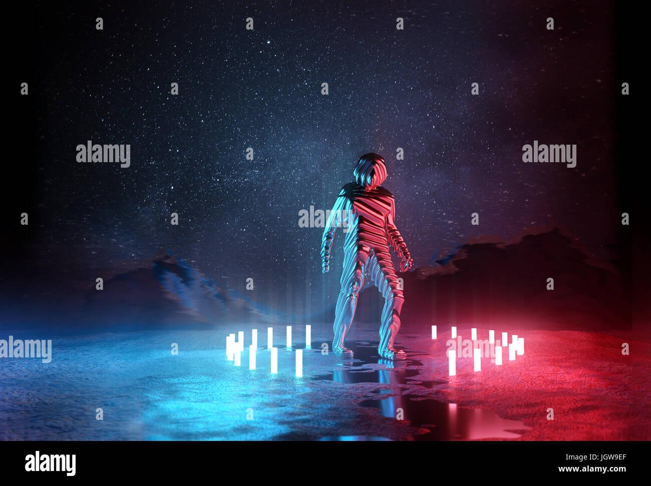 Fast menschlich. Seltsame futuristischen Spaceman durch rote und blaue Lichter in der Nacht beleuchtet. 3D Illustration. Stockbild