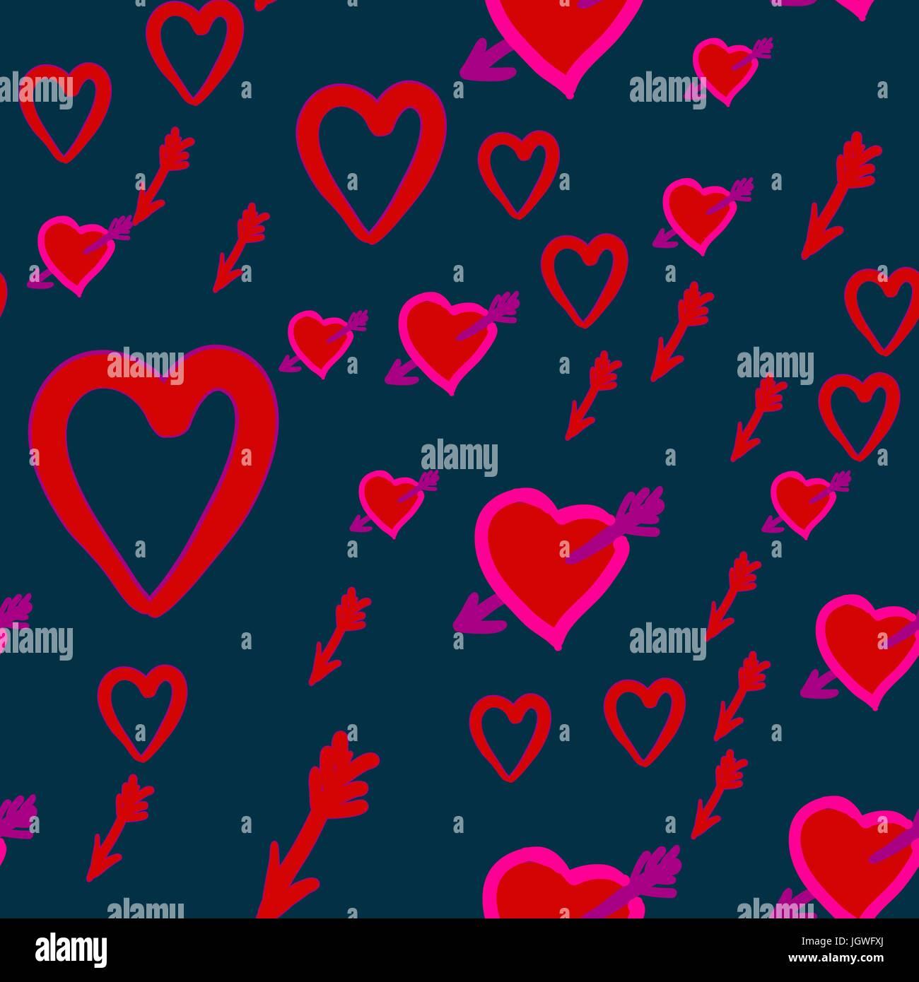 Amor Jagd Valentinstag Muster Mit Amors Pfeilen Im Herzen Vektor