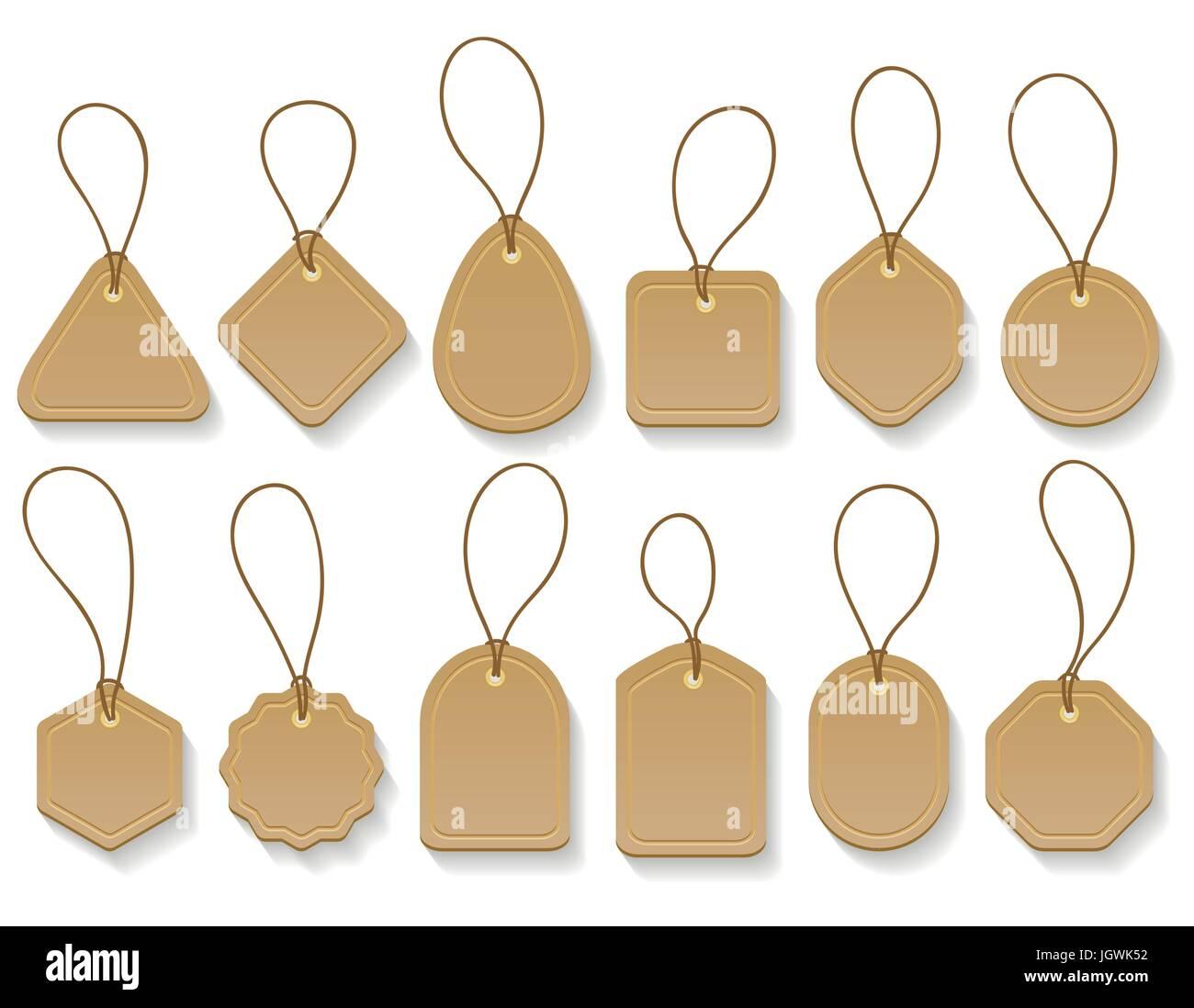 Vektor braunen Papier leer Kleidung Vintage Tags. Mode-Karton hängen ...