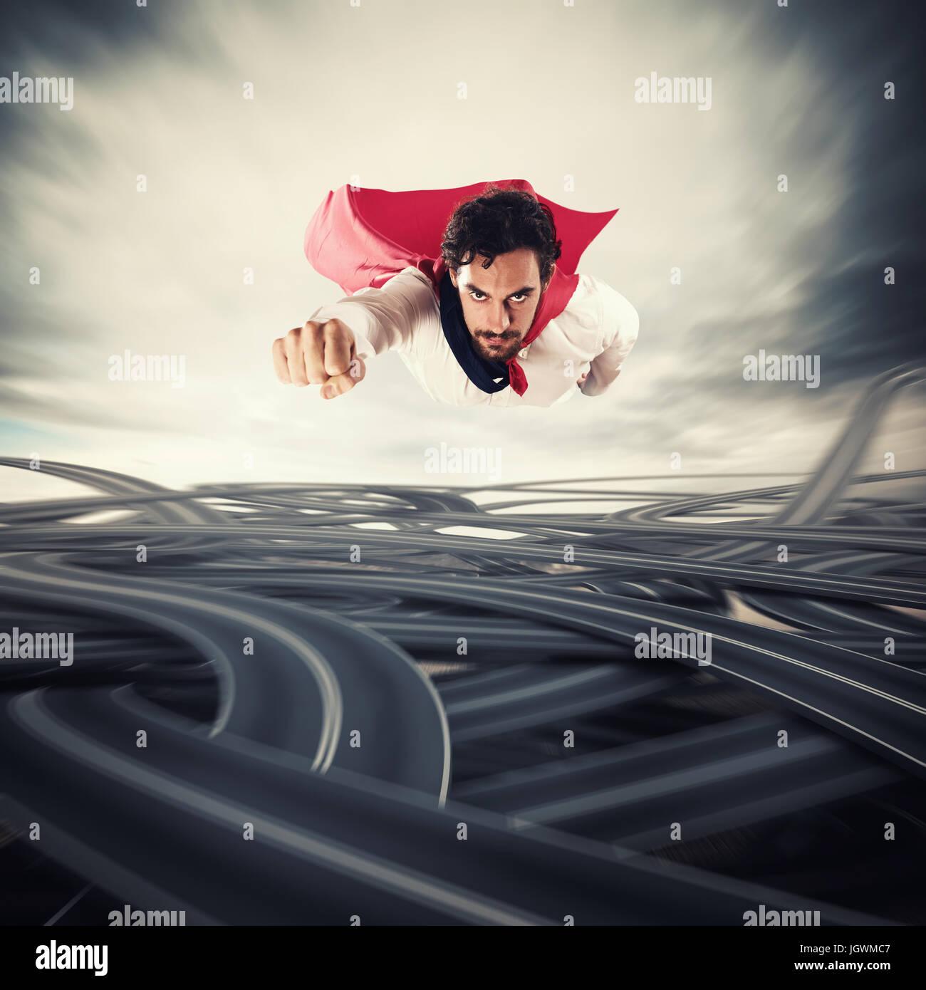 Die Schwierigkeiten zu überwinden. Konzept für Erfolg und Durchbruch Stockbild