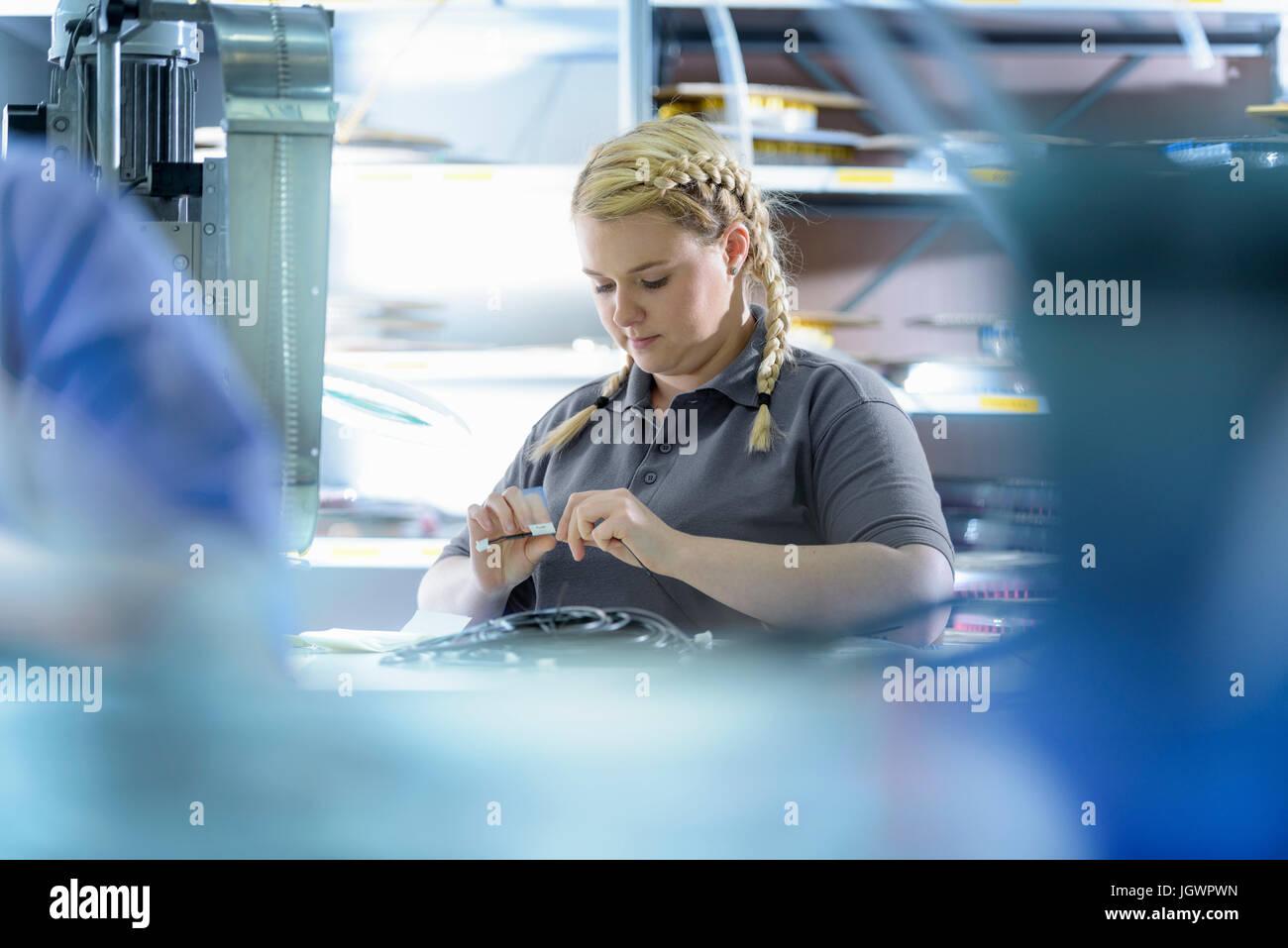 Weiblichen Lehrling Elektroingenieure Kabel Abschluss Fabrik Stockbild