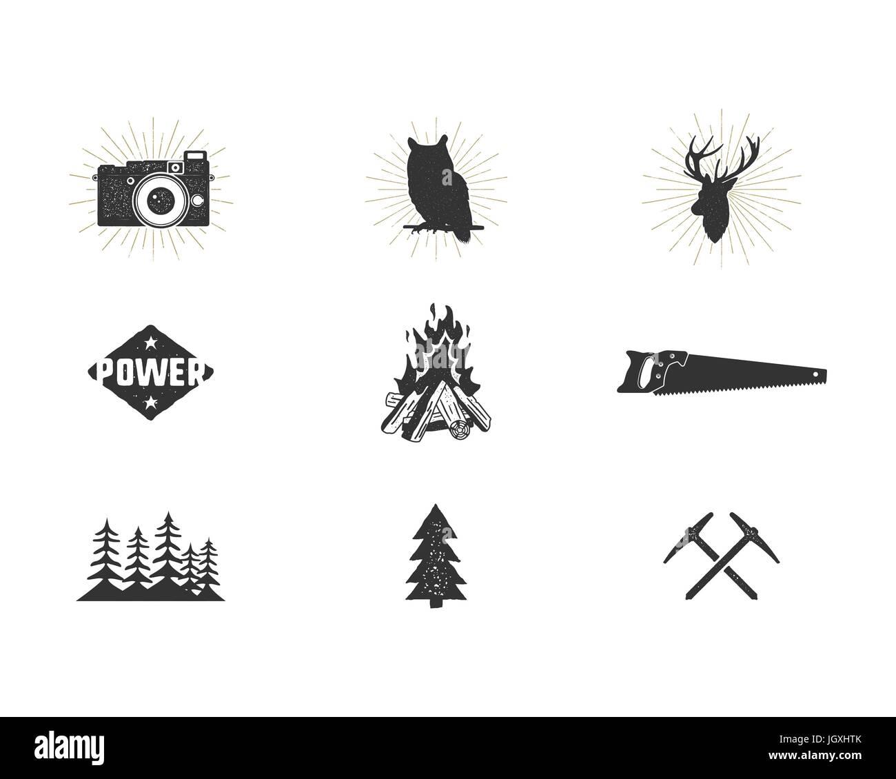 Outdoor-Abenteuer Silhouette Symbole festgelegt. Klettern und ...