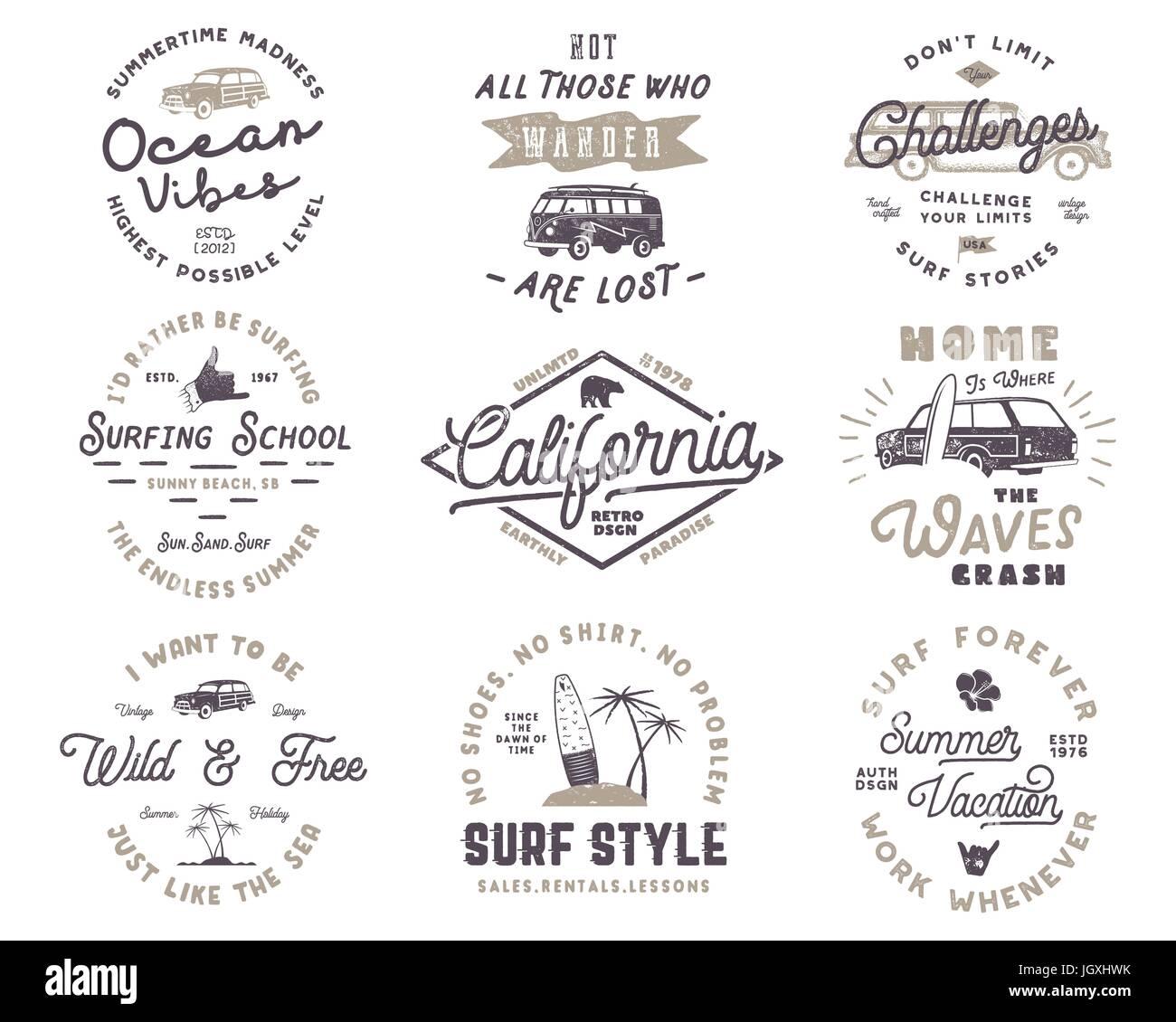 Eingestellt von Vintage Surfing Grafiken und Embleme für Webdesign ...