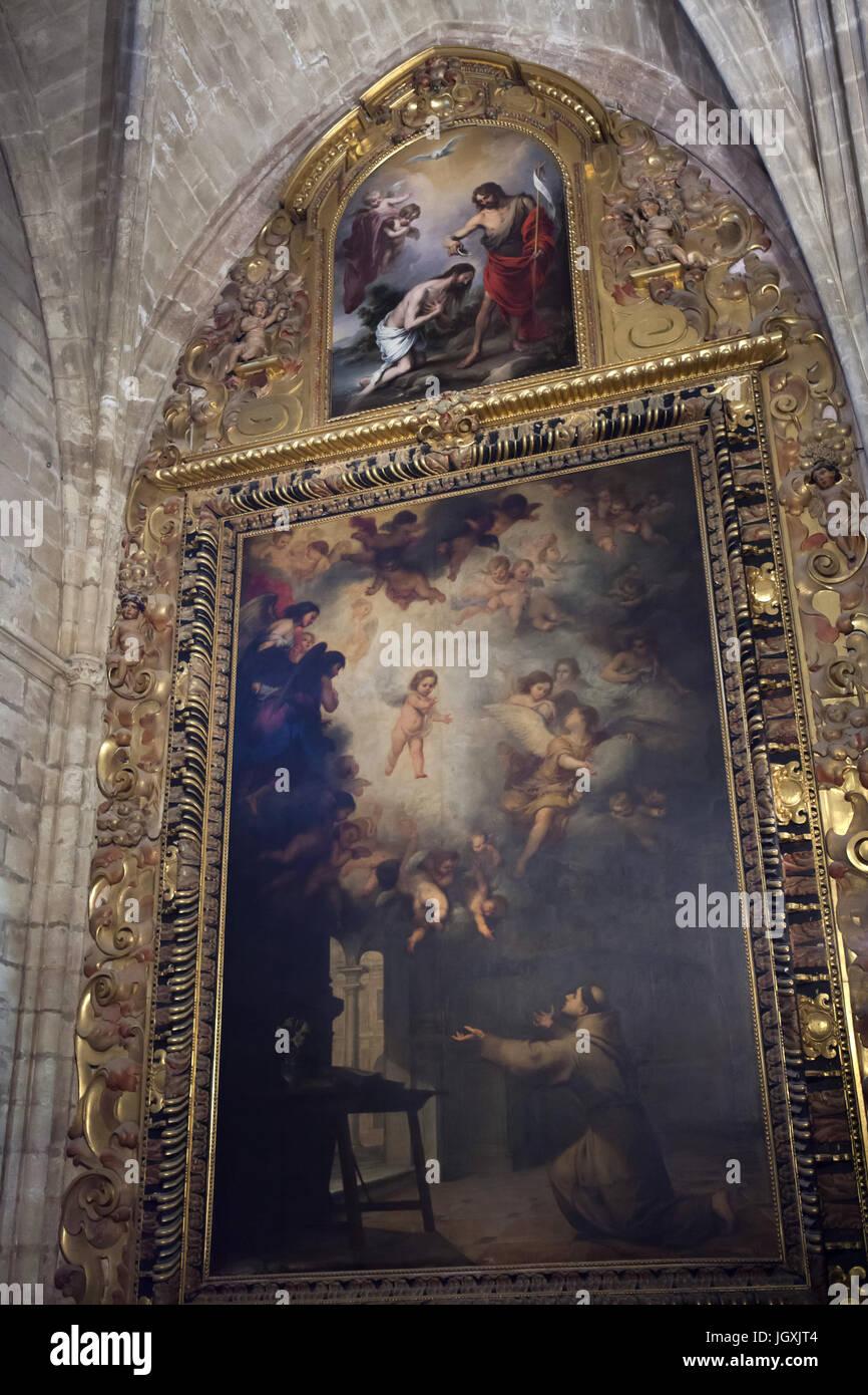 gem lde die vision des heiligen antonius von padua und taufe christi von spanischen barock. Black Bedroom Furniture Sets. Home Design Ideas