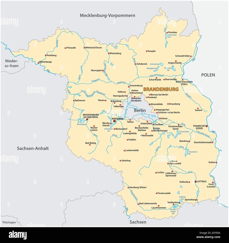 Land Brandenburg Karte.Karte Des Landes Brandenburg In Deutscher Sprache Vektor Abbildung