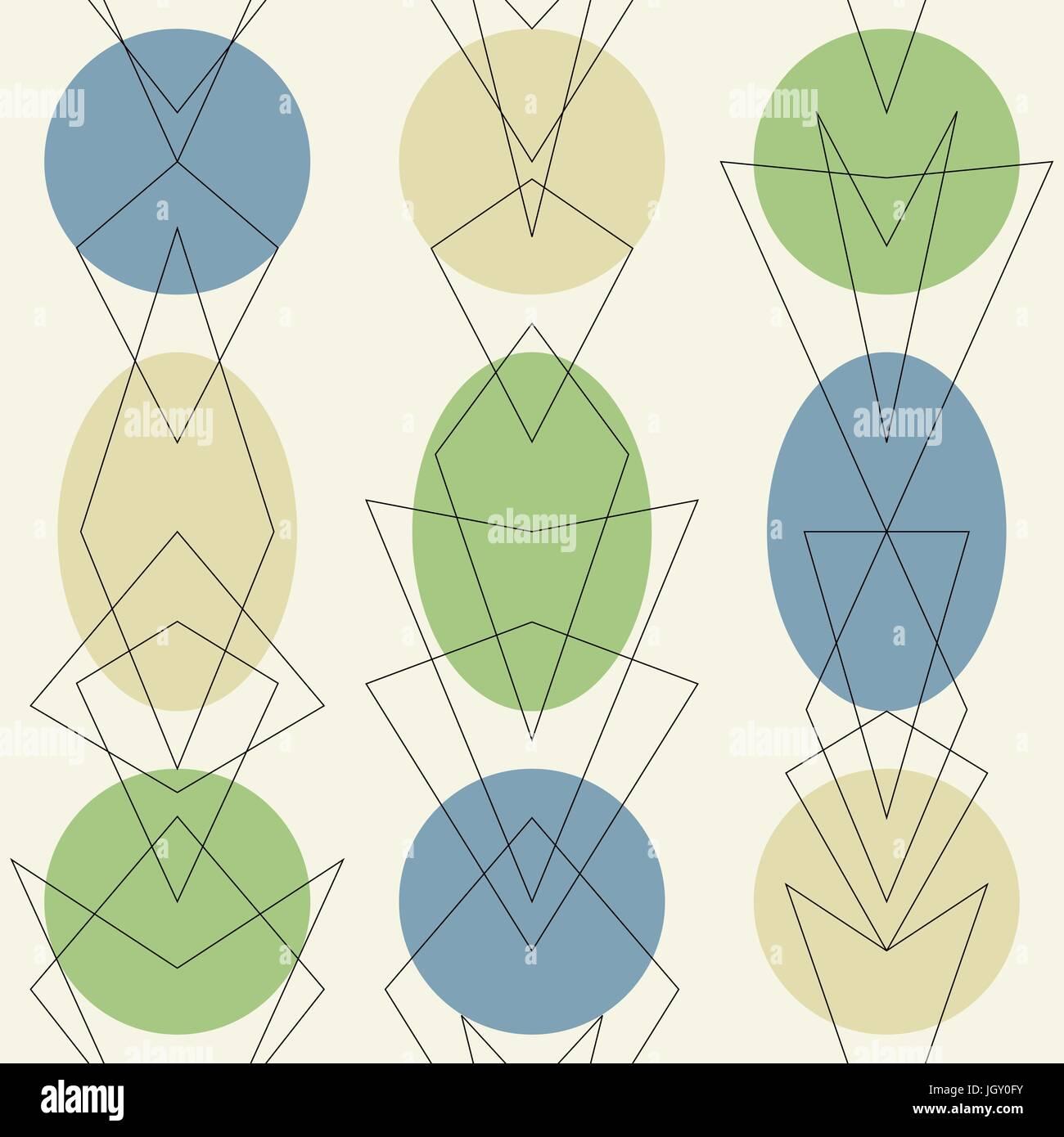 Mitte Jahrhundert Moderne 1950er Jahre Stil Vintage Retro Atomare Nahtlose  Hintergrundmuster. Editierbare Vektor Illustration Für Web Und Print.