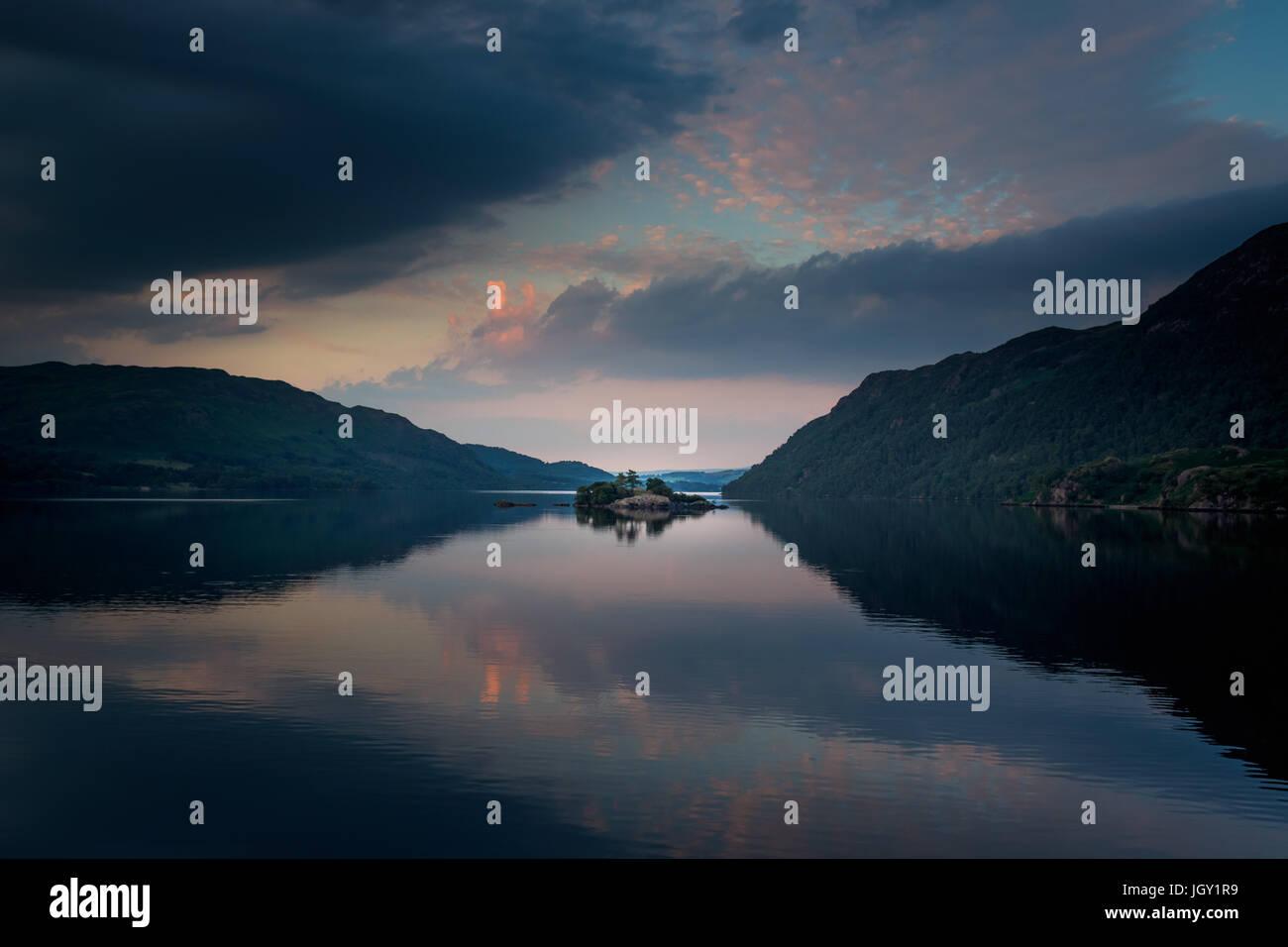Ullswater Sonnenuntergang, The Lake District, UK Stockbild
