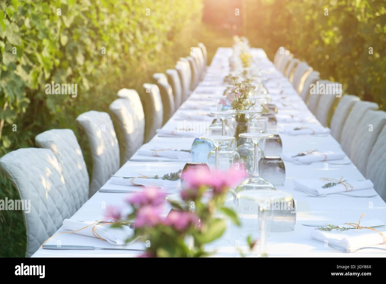 Partytisch für social Event inmitten der Landschaft Stockbild