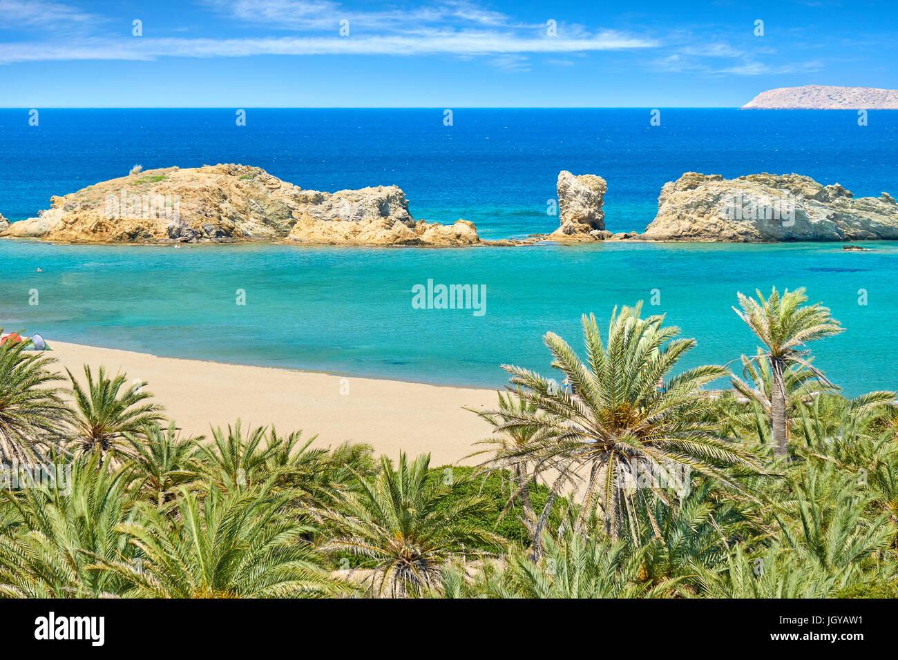 Vai Beach und Palm Bäume, Insel Kreta, Griechenland Stockbild