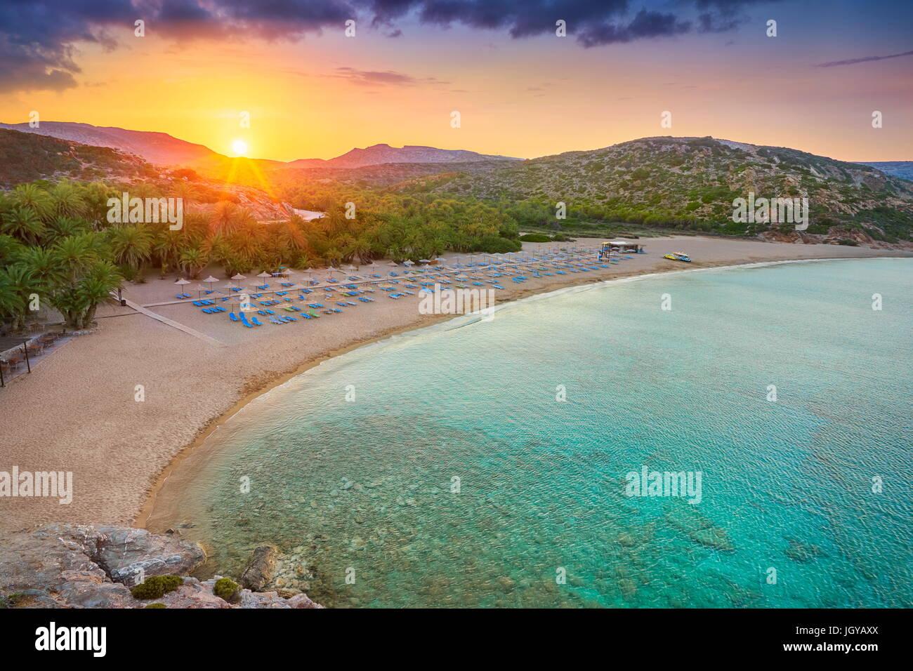 Sonnenuntergang am Strand von Vai, Insel Kreta, Griechenland Stockbild