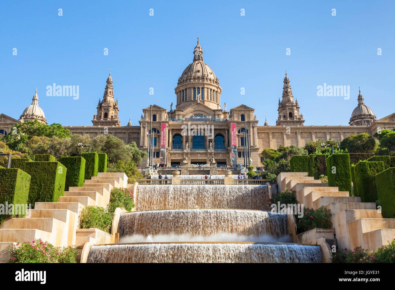 Barcelona-Catalunya Spanien Barcelona Skyline Barcelona-Stadt mit den magischen Brunnen von Mont Juic Font Magica Stockbild