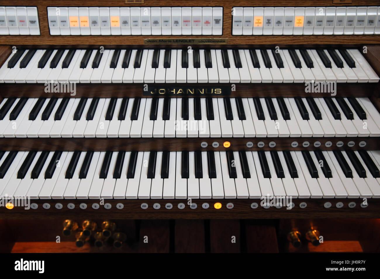 Elektrische Orgel.  Frankreich. Stockbild