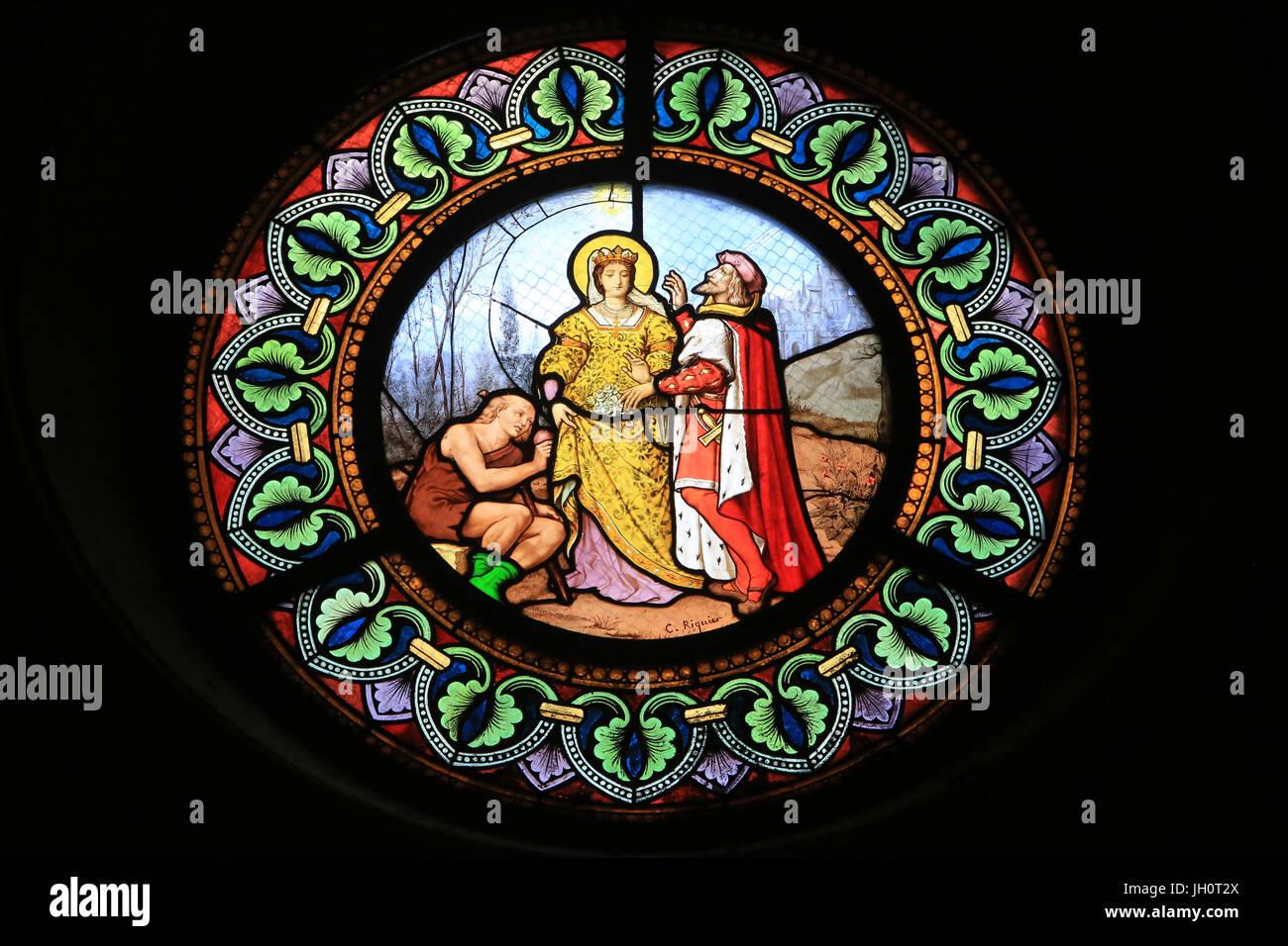 St. Elisabeth von Ungarn, wer Liebe zu den Armen, auf dem Weg von ihrem Ehemann, Prinz von Thüringen überrascht Stockbild