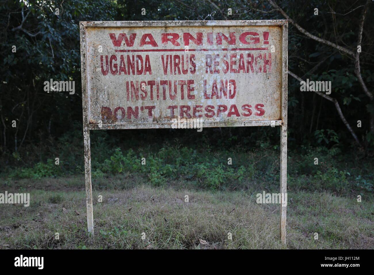 Uganda-Virus Forschung Institure anmelden Zika Wald, Uganda. Uganda. Stockbild