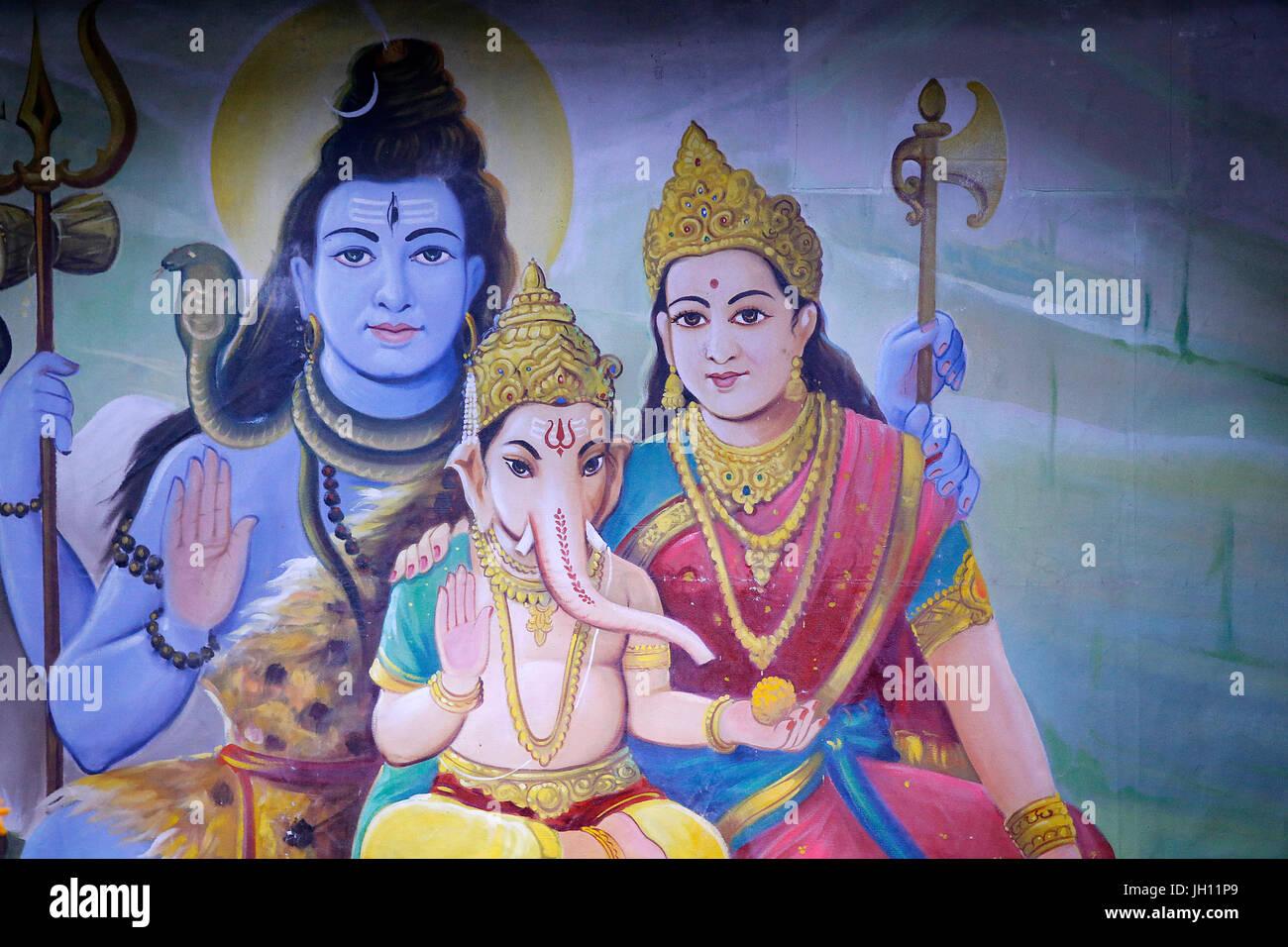 Shree Ram Mandir Leicester Ihr Sohn Ganesh Shiva Und Parvati Vereinigtes Konigreich Stockfotografie Alamy