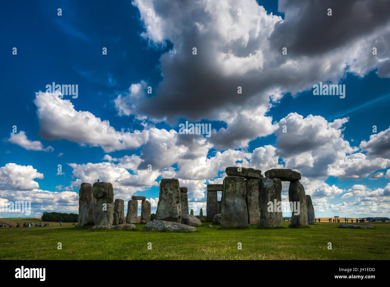 Stonehenge, Wiltshire, United Kingdom.The Ort und seine Umgebung wurden im Jahr 1986 UNESCO Liste des Weltkulturerbes Stockbild