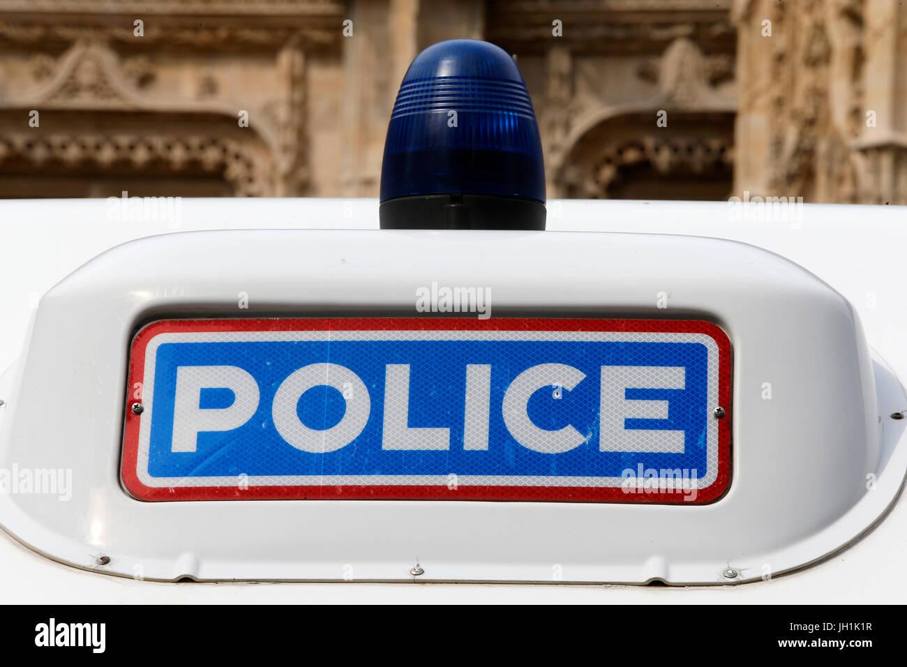 Polizei-Fahrzeug. Frankreich. Stockbild