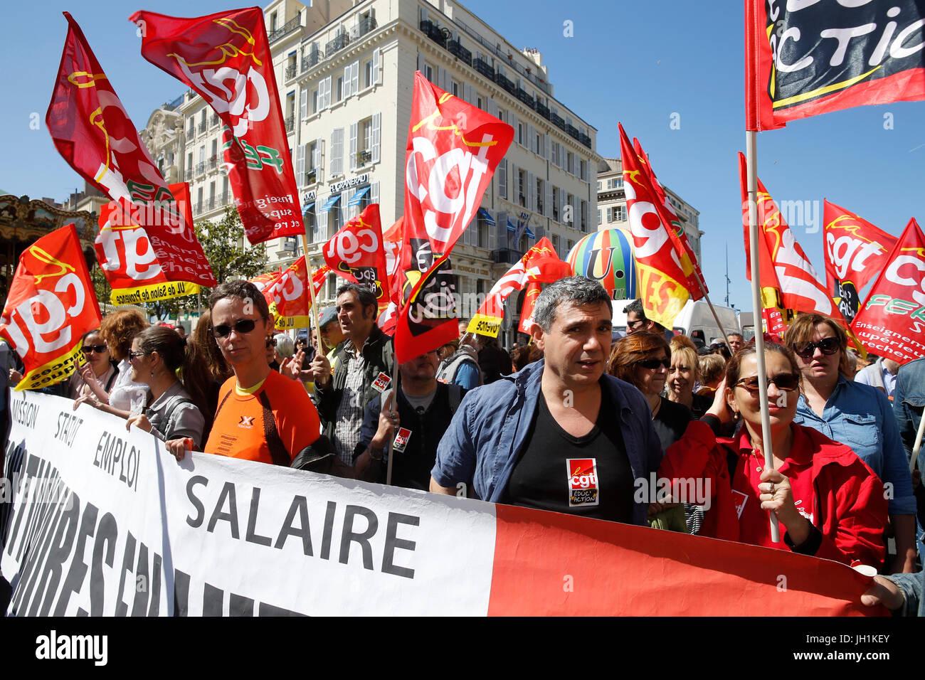 Demonstration in Marseille. Frankreich. Stockbild