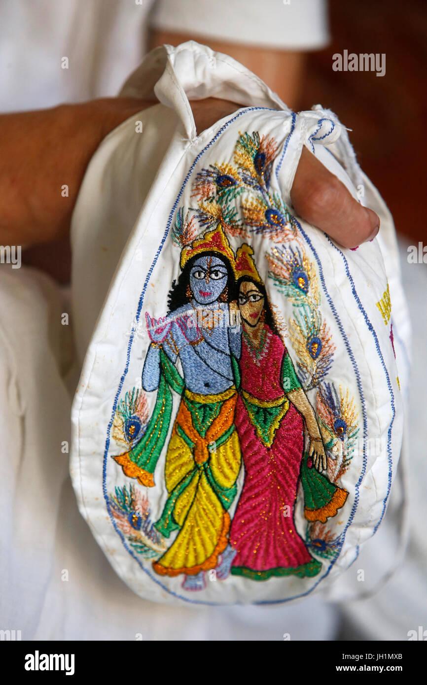 ISKCON Anhänger Japa Bead Tasche. Indien. Stockbild