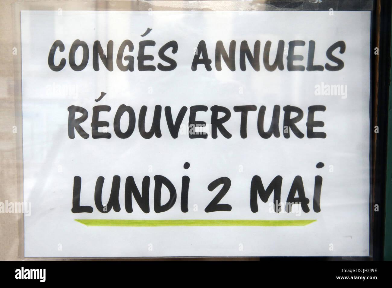 Fermeture pour cong?s Annuels. Frankreich. Stockbild