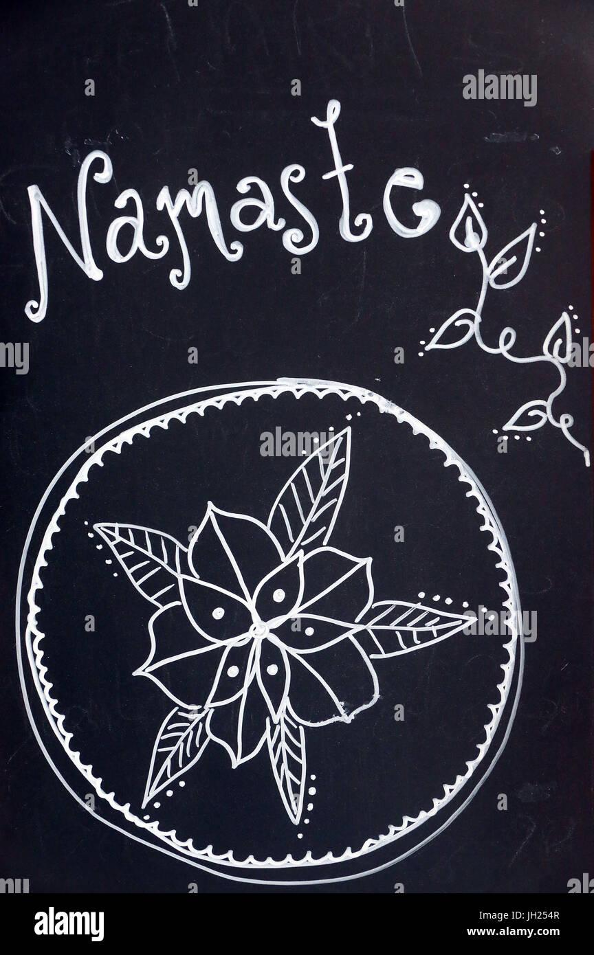 Namaste: respektvolle Form der Begrüßung in hinduistischen Brauch. Frankreich. Stockbild