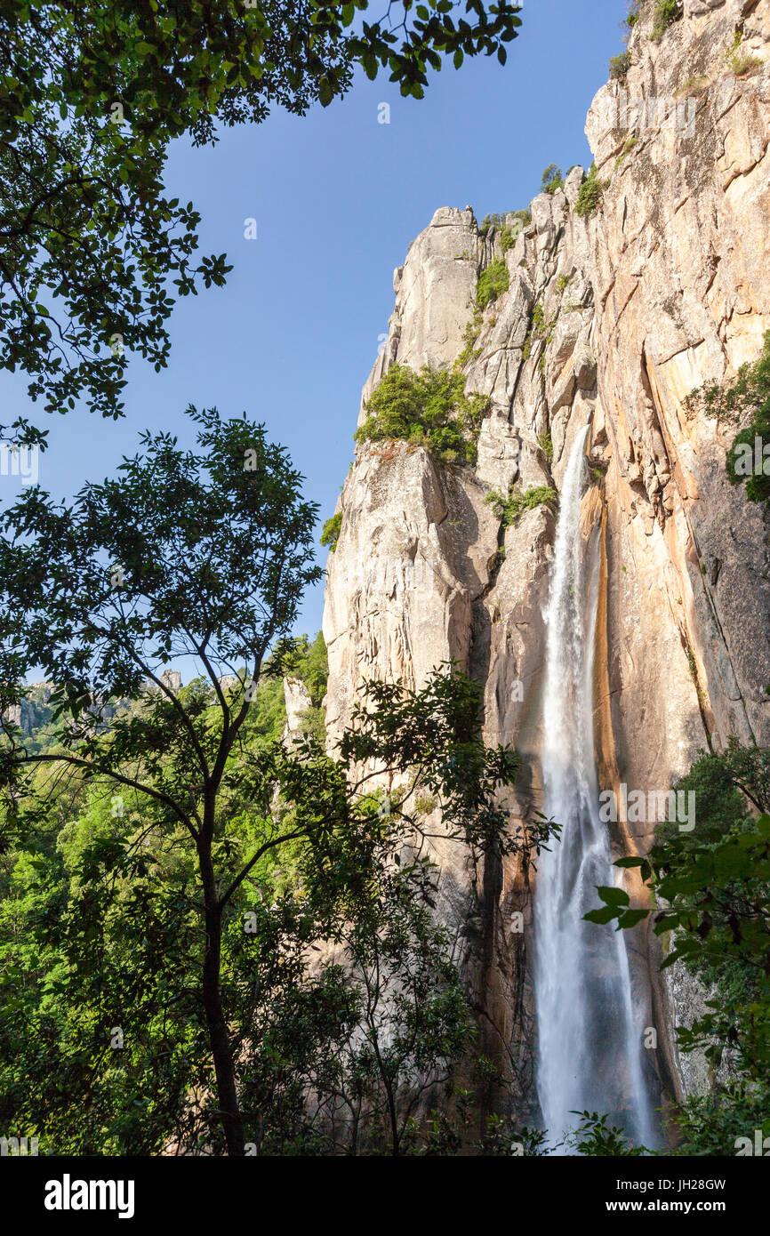 Die Piscia di Gallo Wasserfall umgeben von Granitfelsen und grünen Wäldern, Zonza, Korsika, Südfrankreich, Stockbild