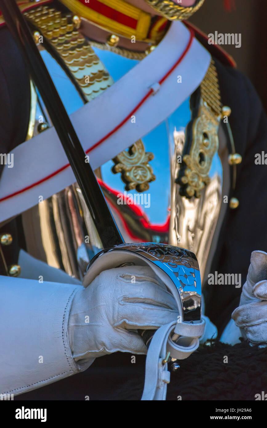 Gardist, Wachen Pferd Parade, Whitehall, London, England, Vereinigtes Königreich, Europa Stockbild