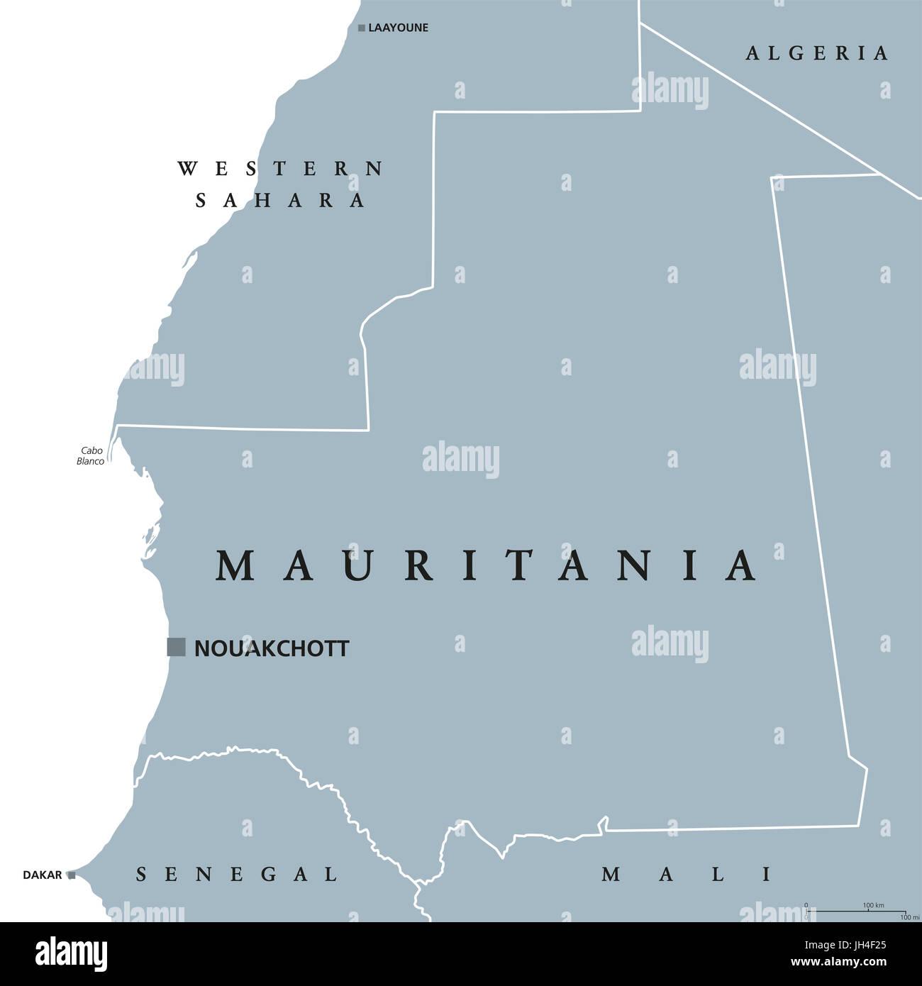Mauretanien Politische Karte Mit Hauptstadt Nouakchott Islamische Republik Und Arabischen Land In Der Maghreb Region Von Westafrika Graue Abbildung Stockfotografie Alamy