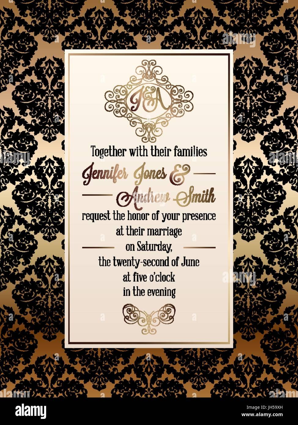 Ornamental Invitation Card Gold Template Stockfotos & Ornamental ...