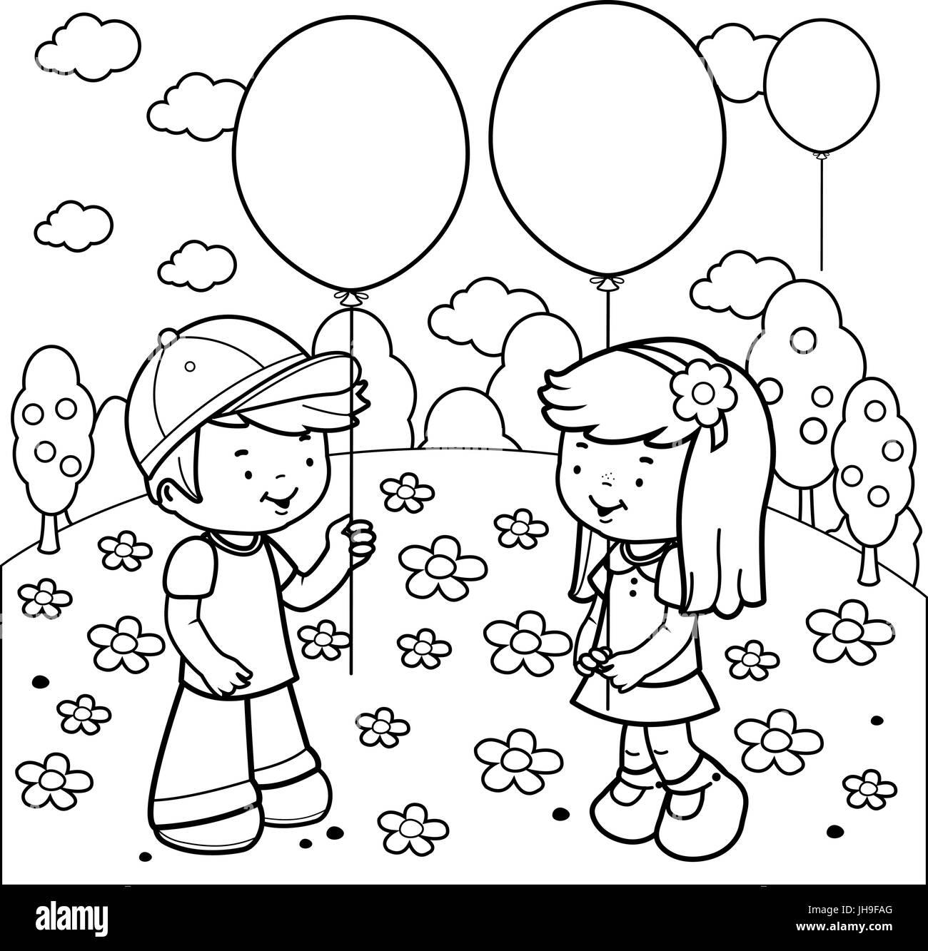 Kinder im Park spielen mit Luftballons Buch Malvorlagen Vektor ...