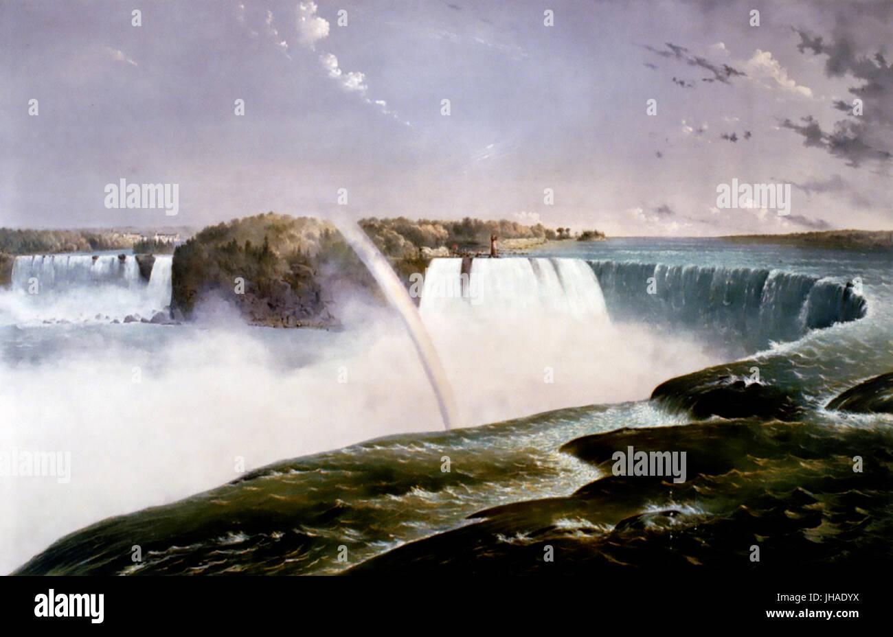 NIAGARA FALLS Currier & Ives drucken 1868 Stockbild