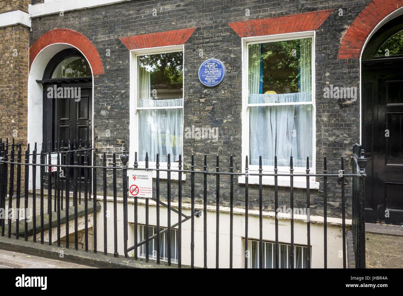 Blaue Plakette, George Orwell, Sir Stephen Spender, Horizont Magazin, Lansdowne Terrasse, London, UK Stockbild