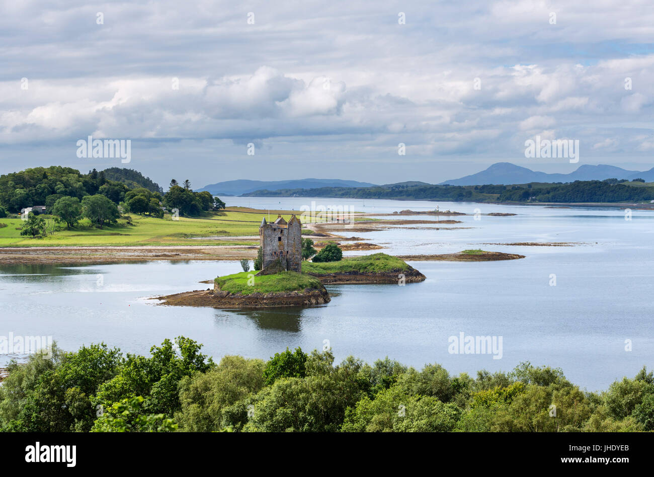 Castle Stalker, Loch Laich, Port Appin, Argyll and Bute, Scotland, UK. Schottische Landschaft / Landschaften Stockbild