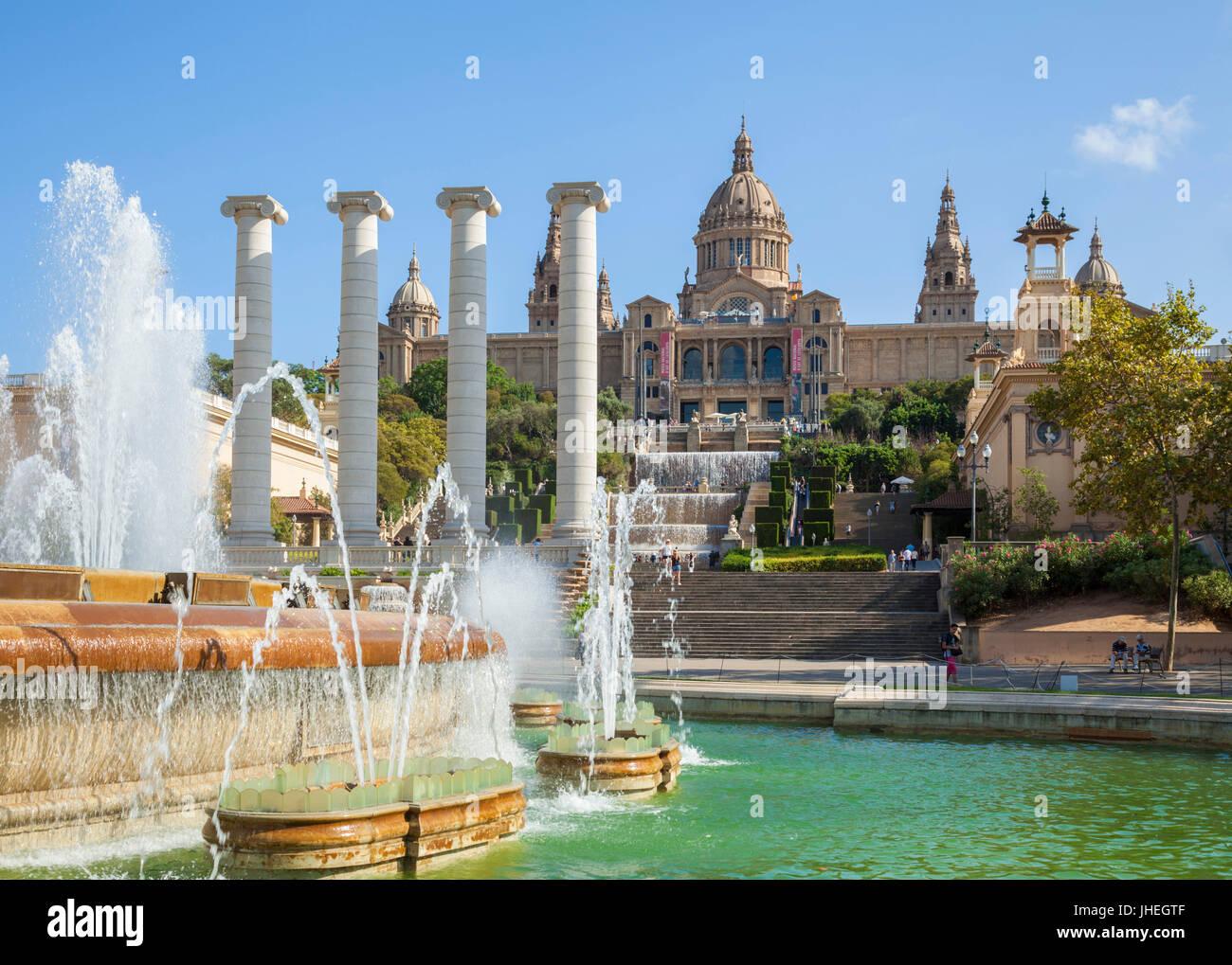 Barcelona-Catalunya Spanien Barcelona Stadt Palau Nacional National Art Museum of Catalonia Plaça de Les Cascades Stockbild